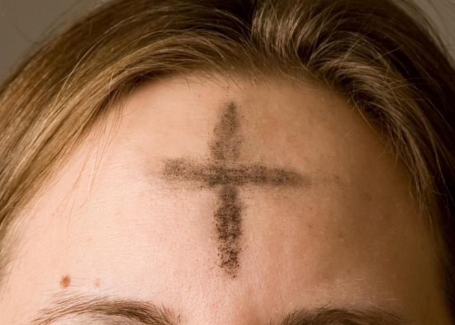 Ashes imposed on the forehead of a Christian on Ash Wednesday. Photo by Jennifer Balaska