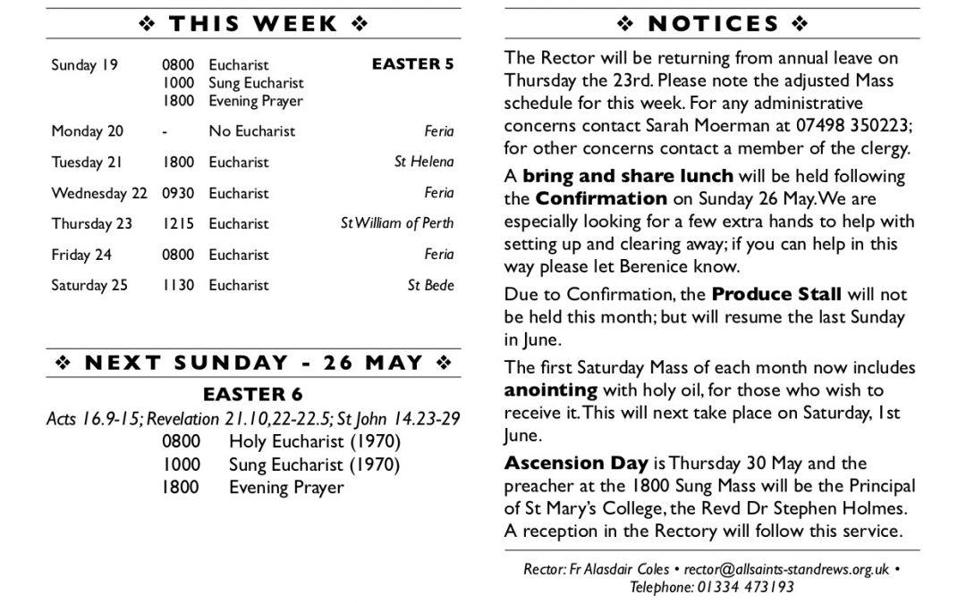 This Week at All Saints' – 19 May