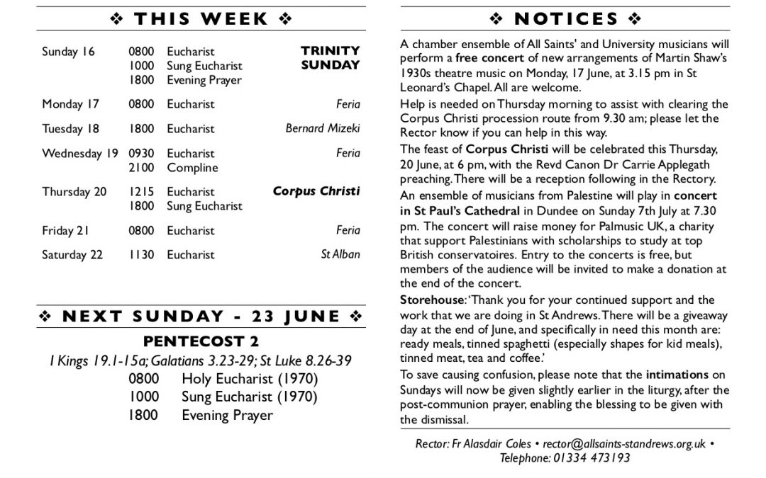 This week at All Saints' – 16 June