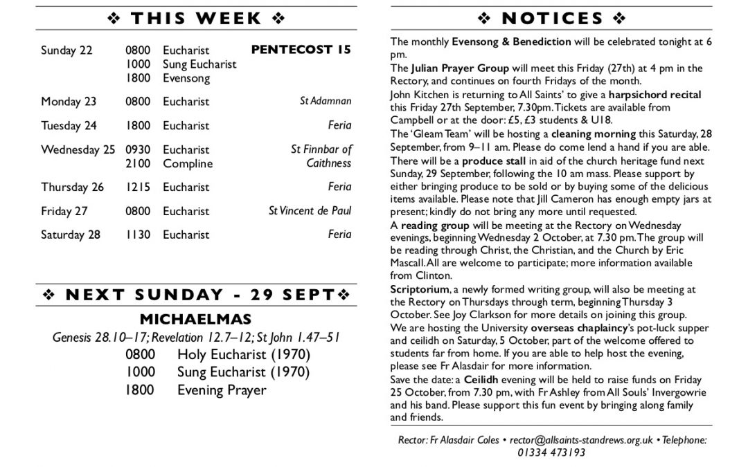 This week at All Saints' – 22 September